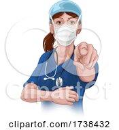 03/05/2021 - Doctor Or Nurse Woman In Scrubs Uniform Pointing