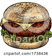 Burger Hamburger Vintage Woodcut Illustration