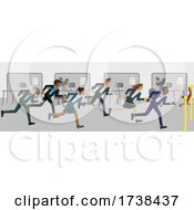 Poster, Art Print Of Business People Running Race Finish Line Concept