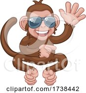 Monkey Sunglasses Cartoon Animal Waving Pointing