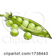 Peas Vegetable Cartoon Illustration