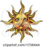 03/05/2021 - Sun Face Woodcut Drawing Retro Vintage Engraving