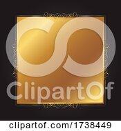 Elegant Gold And Black Background With Decorative Frame