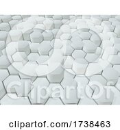 3D Abstract Background Of Extruding White Hexagons