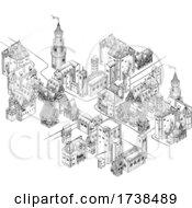 Medieval Town Map Scroll Vintage Illustration