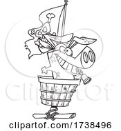 Cartoon Black And White Pirate Pig In A Crows Nest