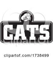 Black And White Paw Over CATS Text