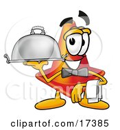 Clipart Picture Of A Traffic Cone Mascot Cartoon Character Dressed As A Waiter And Holding A Serving Platter by Toons4Biz