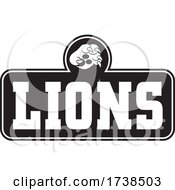 Black And White Paw Over LIONS Text