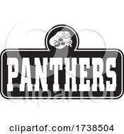 Black And White Paw Over PANTHERS Text