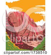 Zion Canyon In Zion National Park Located In Utah United States Of America WPA Poster Art