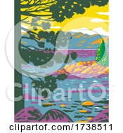 Emerald Bay Lake Tahoe In The Sierra Nevada Mountains Located In California United States WPA Poster Art