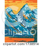 Snowcapped Peaks Of Grand Teton National Park Located In Wyoming United States Of America WPA Poster Art