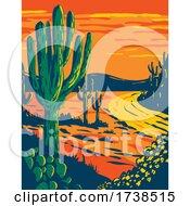 Poster, Art Print Of Saguaro Cactus At Dusk In Saguaro National Park In Tucson Arizona National Park California Wpa Poster Art