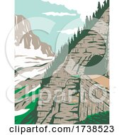 GoingtotheSun Road In Eastside Tunnel And Mt Reynolds Glacier National Park Montana United States WPA Poster Art