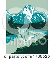 Jackson Hole Valley With The Peaks Of Grand Teton National Park In Wyoming United States WPA Poster Art