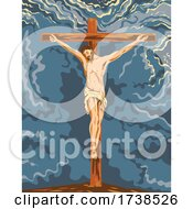 The Crucified Jesus Christ On The Cross During Crucifixion WPA Poster Art