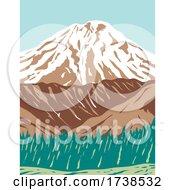 Redoubt Volcano Or Mount Redoubt In The Largely Volcanic Aleutian Range Of Alaska WPA Poster Art