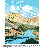 Rio Grande River That Begins In Colorado And Flows To Gulf Of Mexico WPA Poster Art