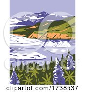 WrangellSt Elias National Park And Preserve With Purple Lupins In Nizina Lake In Alaska WPA Poster Art