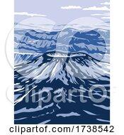 Aniakchak National Monument And Preserve Showing Aniakchak Volcano On The Aleutian Range Of Alaska WPA Poster Art