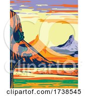 North And South Six Shooter Peak In Bears Ears National Monument Located In San Juan County Utah WPA Poster Art