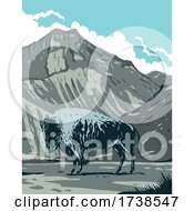 American Bison With Eagle Peak Mountain In Yellowstone National Park Wyoming United States Of America WPA Poster Art