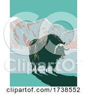 Muskox Or Musk Ox In Winter In The Cape Krusenstern National Monument In Northwestern Alaska WPA Poster Art