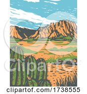 Poster, Art Print Of Chihuahuan Desert Covering Parts Of Big Bend National Park In Mexico And Southwestern United States Wpa Poster Art