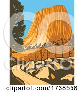 Devils Tower National Monument In Bear Lodge Ranger District Of The Black Hills In Wyoming WPA Poster Art