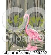 Flamingo In The Everglades National Park Located In Florida United States Of America WPA Poster Art