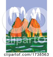 Fly Geyser Or Fly Ranch Geyser Located In Black Rock Desert Washoe County Nevada WPA Poster Art