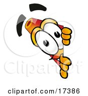 Clipart Picture Of A Traffic Cone Mascot Cartoon Character Peeking Around A Corner by Toons4Biz