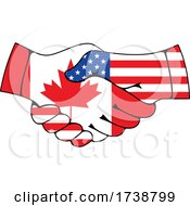 Canadian And American Flag Hands Shaking