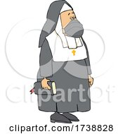 Cartoon Unhappy Nun Wearing A Mask