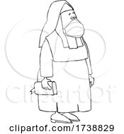 Cartoon Black And White Nun Wearing A Mask