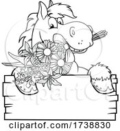 Black And White Horse With A Boquet Over A Sign