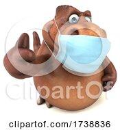 3d Tyrannosaurus Rex Dinosaur Wearing A Mask On A White Background