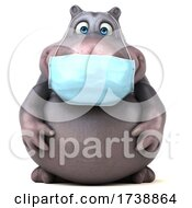 3d Hippo Wearing A Mask On A White Background