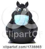 3d Chubby Black Horse On A White Background