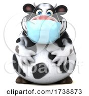 3d Holstein Cow Wearing A Mask On A White Background