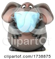 3d Elephant Wearing A Mask On A White Background