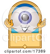 Clipart Picture Of An Eyeball Mascot Cartoon Character On A Blank Tan Label by Toons4Biz