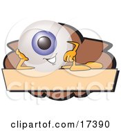 Clipart Picture Of An Eyeball Mascot Cartoon Character On A Blank Brown And Tan Label by Toons4Biz