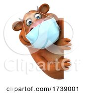 3d Brown Cow Wearing A Mask On A White Background