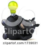 Poster, Art Print Of 3d Chubby Black Horse On A White Background