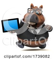 3d Chubby Brown Business Horse On A White Background