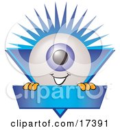 Clipart Picture Of An Eyeball Mascot Cartoon Character On A Blue Business Label by Toons4Biz
