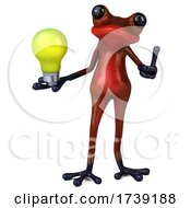 3d Red Frog On A White Background