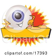 Clipart Picture Of An Eyeball Mascot Cartoon Character On A Blank Yellow And Orange Label by Toons4Biz